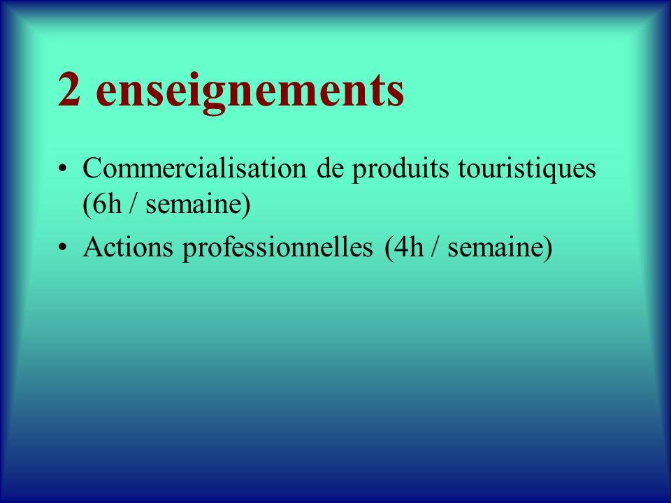 2 enseignements Commercialisation de produits touristiques (6h / semaine) Actions professionnelles (4h / semaine)