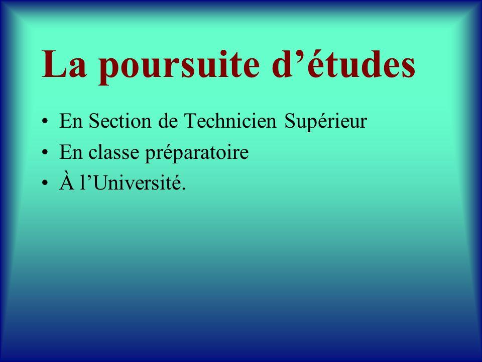 La poursuite détudes En Section de Technicien Supérieur En classe préparatoire À lUniversité.