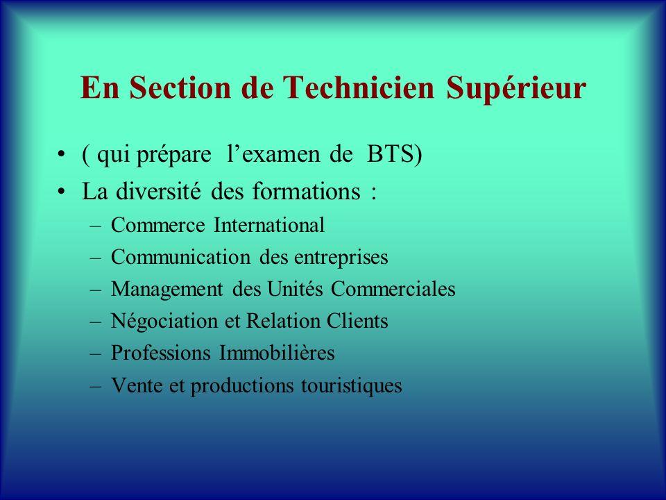 En Section de Technicien Supérieur ( qui prépare lexamen de BTS) La diversité des formations : –Commerce International –Communication des entreprises