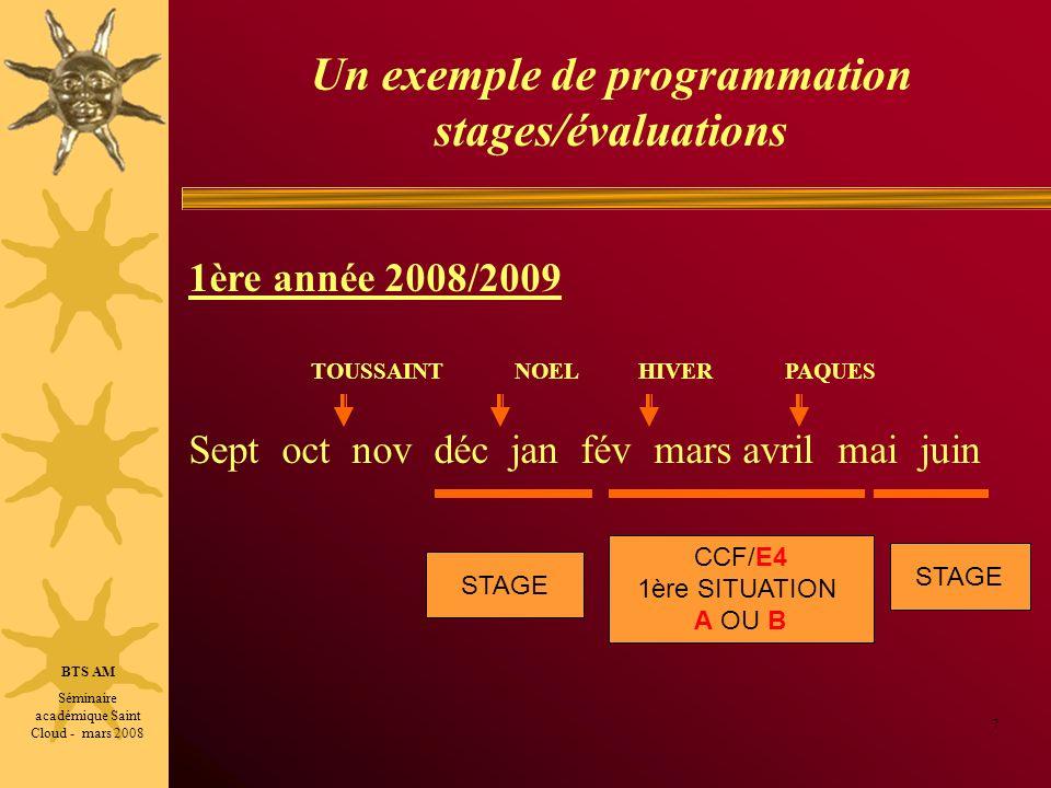 Un exemple de programmation stages/évaluations ou bien 8 2ème année 2009/2010: TOUSSAINT NOEL HIVER PAQUES Sept oct nov déc jan fév mars avril mai juin SUITE CCF/E4 1ère SITUATION A OU B CCF/E4 2nde SITUATION A OU B CCF/E6 SITUATION A Épreuves ponctuelles BTS AM Séminaire académique Saint Cloud - mars 2008 STAGE CCF/E4 2nde SITUATION A OU B