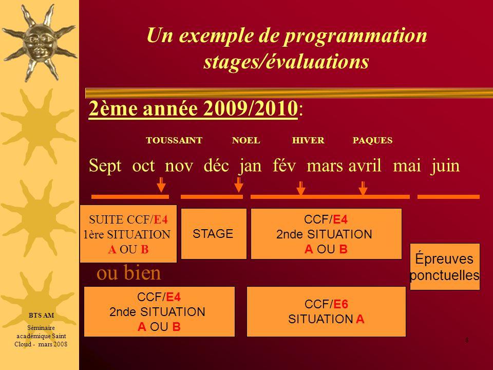 Un exemple de programmation stages/évaluations ou bien 8 2ème année 2009/2010: TOUSSAINT NOEL HIVER PAQUES Sept oct nov déc jan fév mars avril mai jui