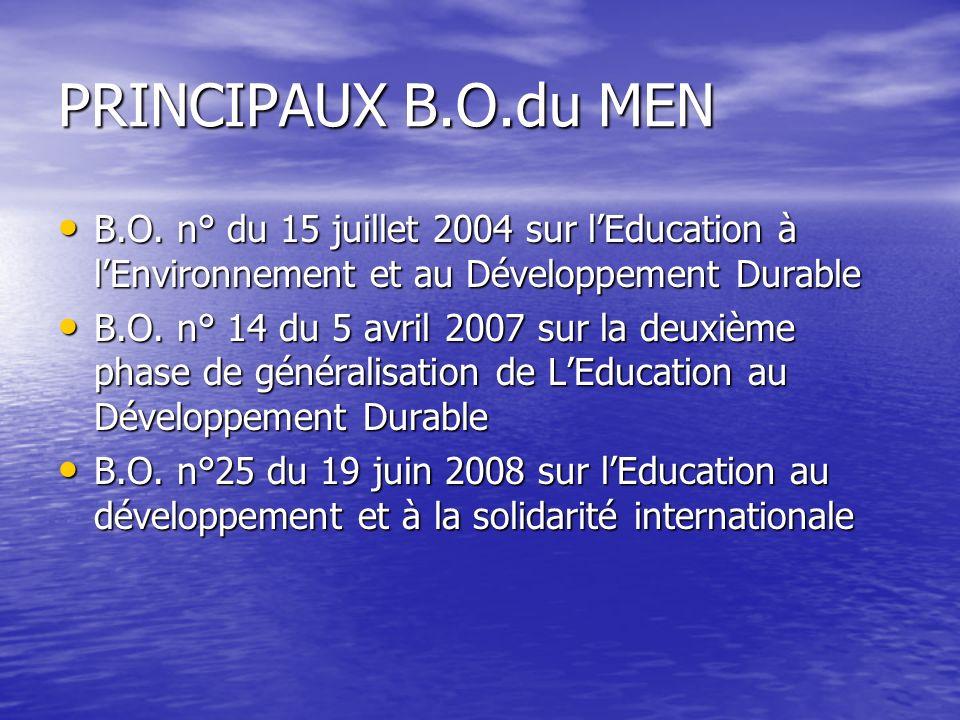 PRINCIPAUX B.O.du MEN B.O. n° du 15 juillet 2004 sur lEducation à lEnvironnement et au Développement Durable B.O. n° du 15 juillet 2004 sur lEducation
