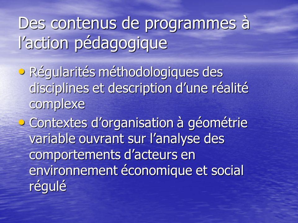 Des contenus de programmes à laction pédagogique Régularités méthodologiques des disciplines et description dune réalité complexe Régularités méthodol
