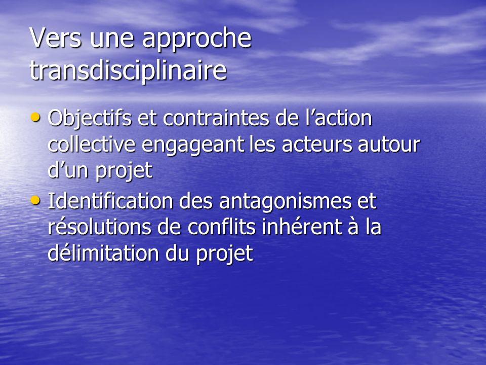 Vers une approche transdisciplinaire Objectifs et contraintes de laction collective engageant les acteurs autour dun projet Objectifs et contraintes d