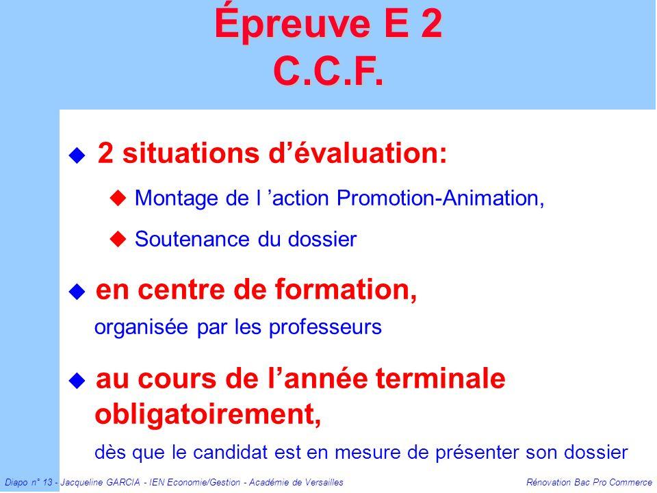 Diapo n° 13 - Jacqueline GARCIA - IEN Economie/Gestion - Académie de Versailles Rénovation Bac Pro Commerce 2 situations dévaluation: Montage de l act