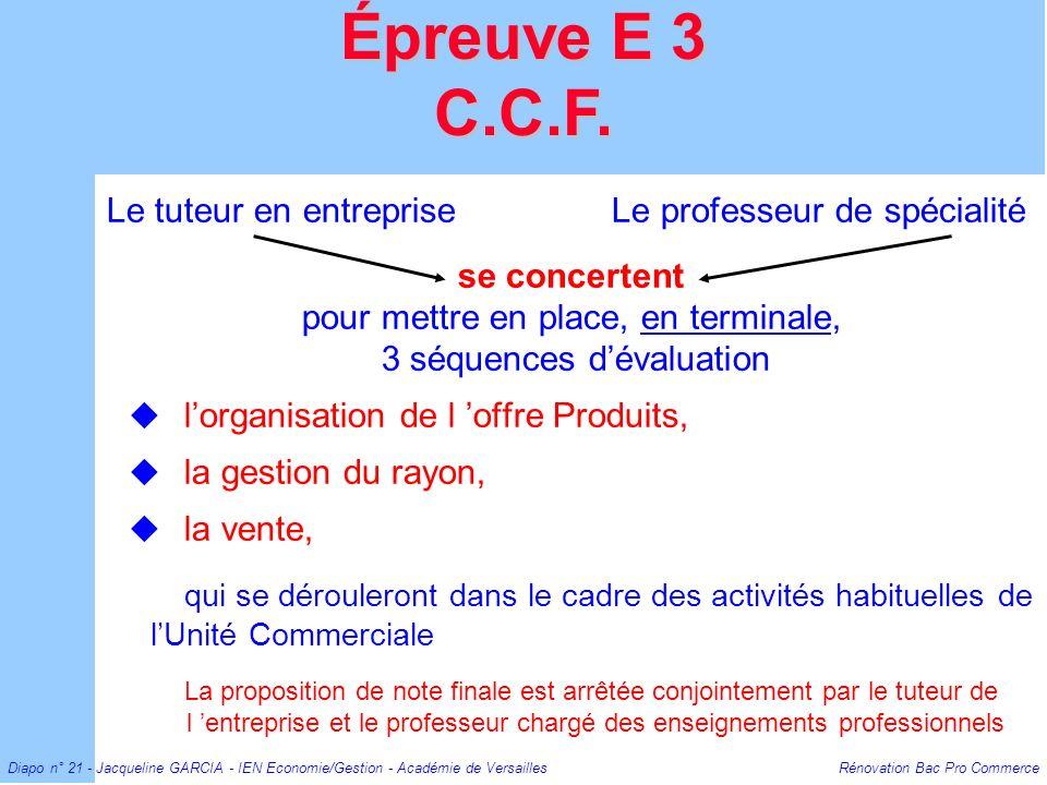 Diapo n° 21 - Jacqueline GARCIA - IEN Economie/Gestion - Académie de Versailles Rénovation Bac Pro Commerce Le tuteur en entreprise Le professeur de s