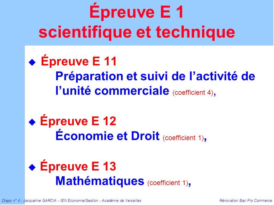 Diapo n° 4 - Jacqueline GARCIA - IEN Economie/Gestion - Académie de Versailles Rénovation Bac Pro Commerce Épreuve E 11 Préparation et suivi de lactiv