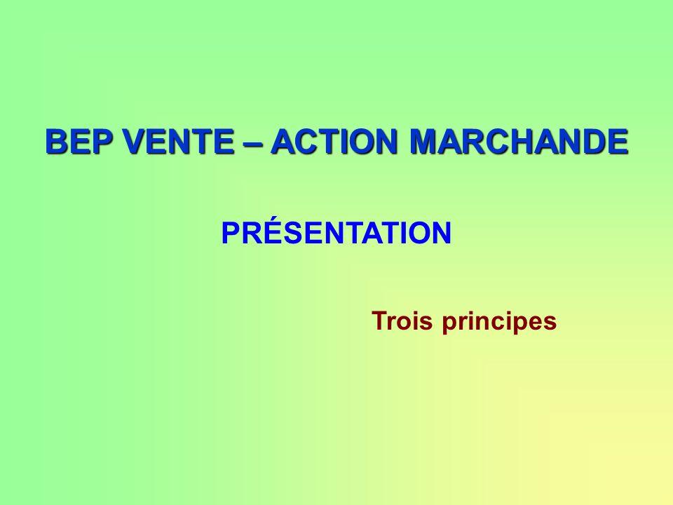 BEP VENTE – ACTION MARCHANDE PRÉSENTATION Trois principes