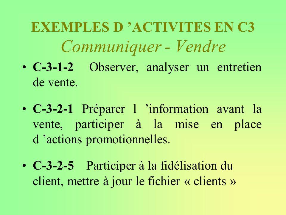 EXEMPLES D ACTIVITES EN C3 Communiquer - Vendre C-3-1-2 Observer, analyser un entretien de vente. C-3-2-1 Préparer l information avant la vente, parti