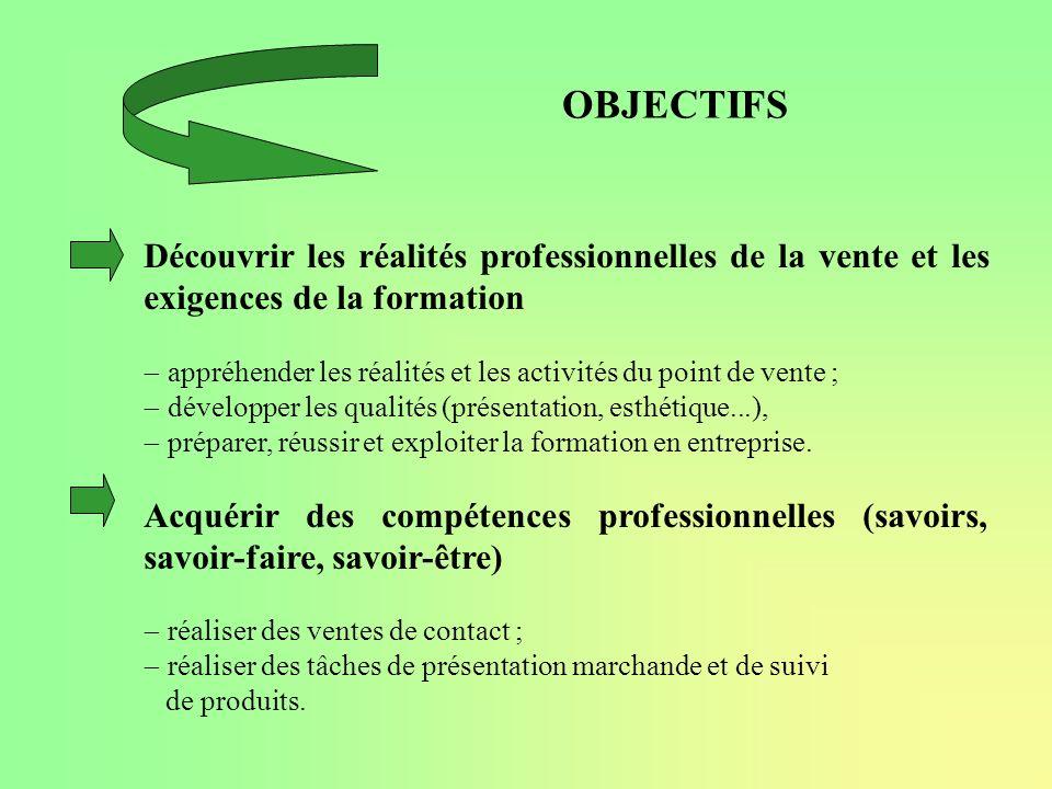 OBJECTIFS Découvrir les réalités professionnelles de la vente et les exigences de la formation appréhender les réalités et les activités du point de v