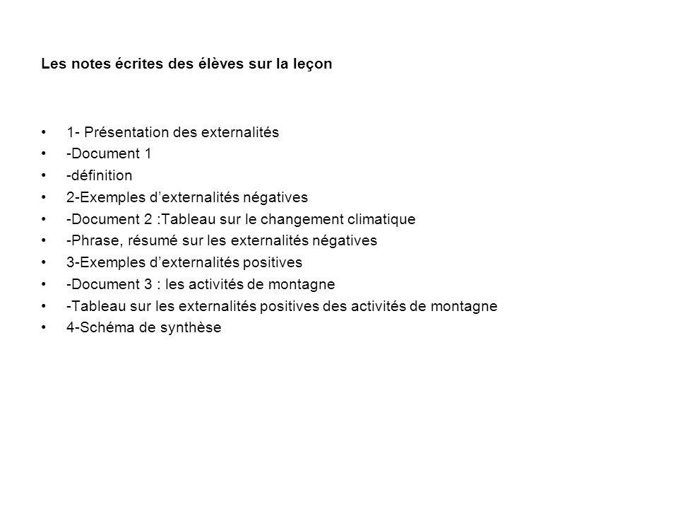 Les notes écrites des élèves sur la leçon 1- Présentation des externalités -Document 1 -définition 2-Exemples dexternalités négatives -Document 2 :Tab