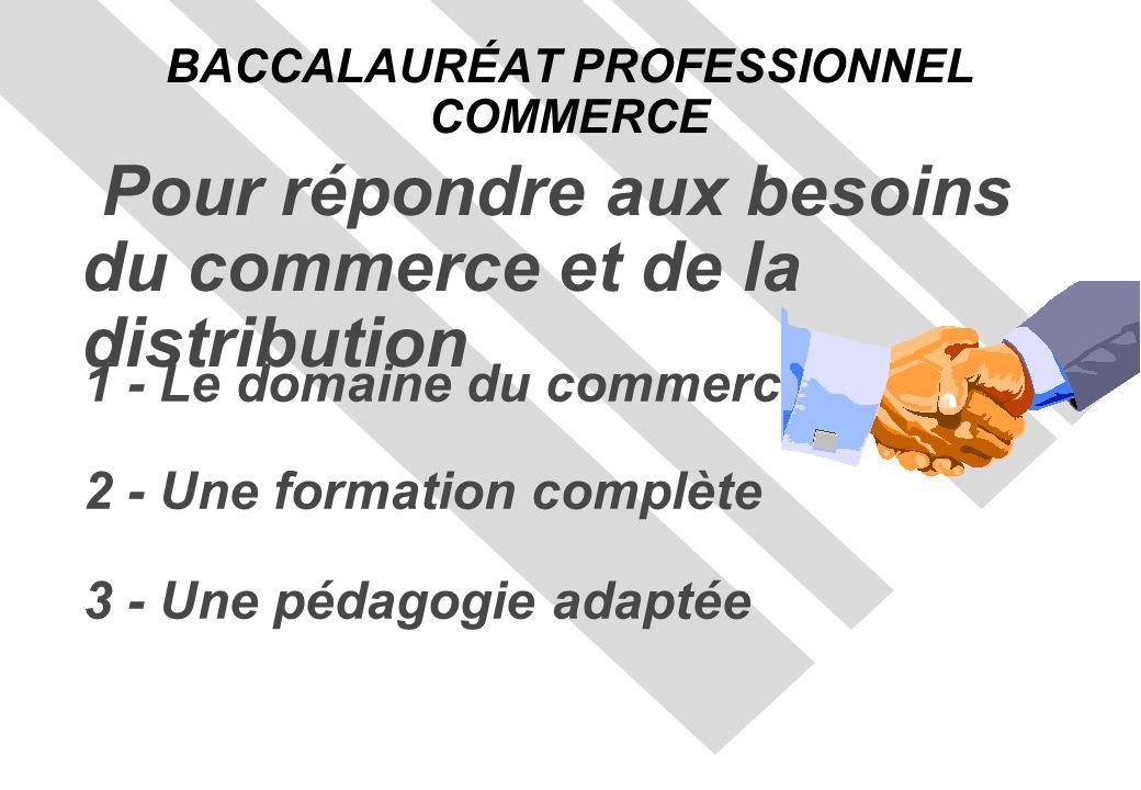 1 - Le domaine du commerce 2 - Une formation complète 3 - Une pédagogie adaptée BACCALAURÉAT PROFESSIONNEL COMMERCE Pour répondre aux besoins du commerce et de la distribution