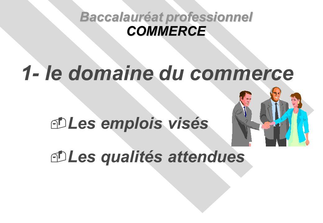 Les emplois visés Les qualités attendues Baccalauréat professionnel COMMERCE 1- le domaine du commerce