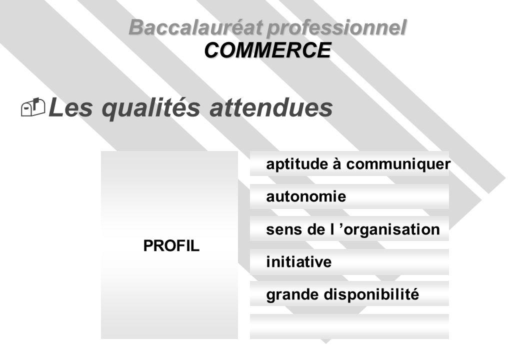 Baccalauréat professionnel COMMERCE Les qualités attendues aptitude à communiquer autonomie sens de l organisation initiative grande disponibilité PROFIL