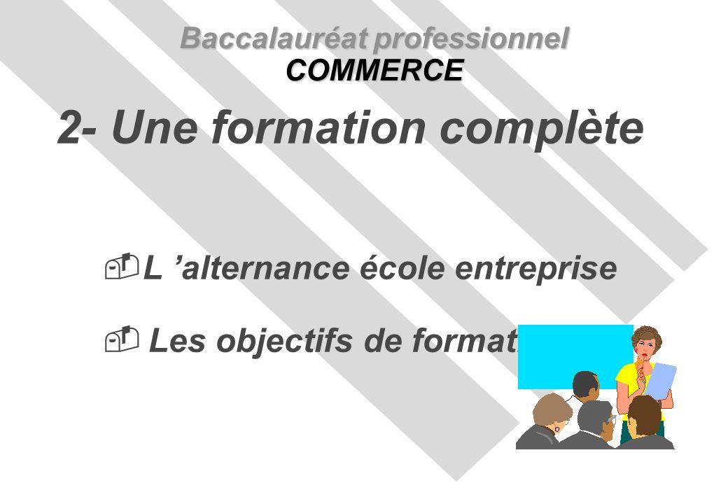 L alternance école entreprise Les objectifs de formation Baccalauréat professionnel COMMERCE 2- Une formation complète