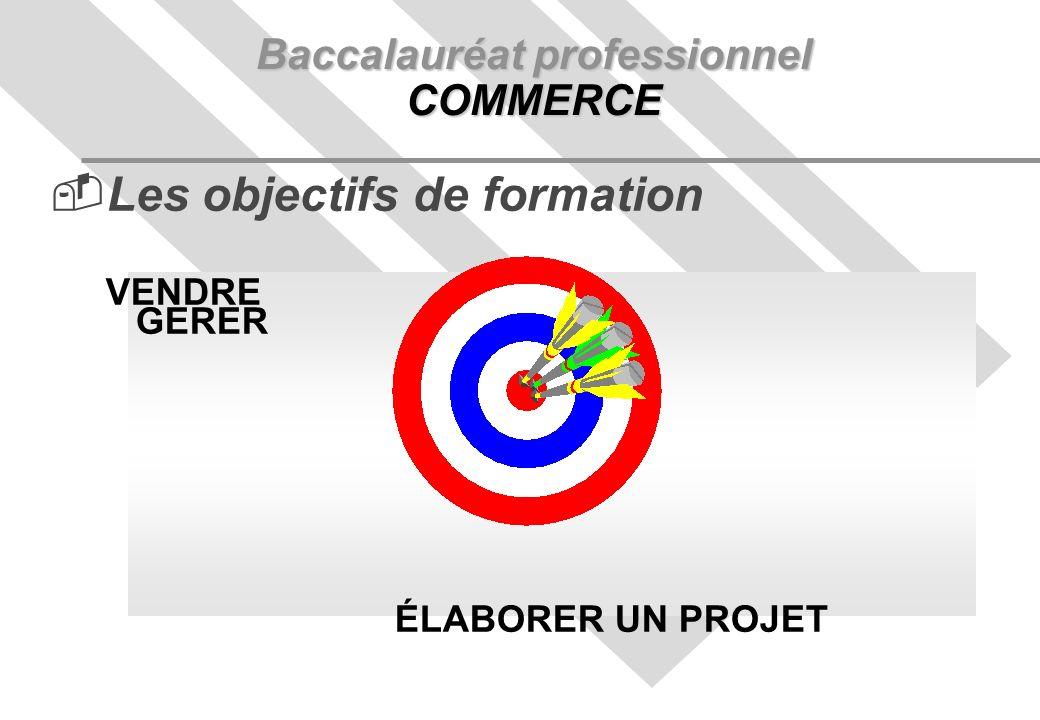 Baccalauréat professionnel COMMERCE Les objectifs de formation VENDRE GERER ÉLABORER UN PROJET