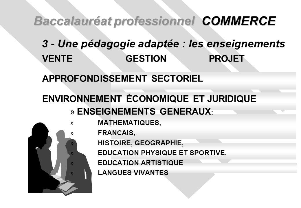Baccalauréat professionnel COMMERCE 3 - Une pédagogie adaptée : les enseignements VENTEGESTIONPROJET APPROFONDISSEMENT SECTORIEL ENVIRONNEMENT ÉCONOMIQUE ET JURIDIQUE »ENSEIGNEMENTS GENERAUX : » MATHEMATIQUES, »FRANCAIS, »HISTOIRE, GEOGRAPHIE, »EDUCATION PHYSIQUE ET SPORTIVE, »EDUCATION ARTISTIQUE »LANGUES VIVANTES