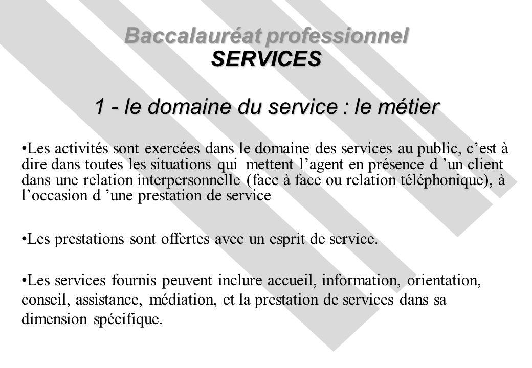 Baccalauréat professionnel SERVICES 1 - le domaine du service : le métier Les activités sont exercées dans le domaine des services au public, cest à d