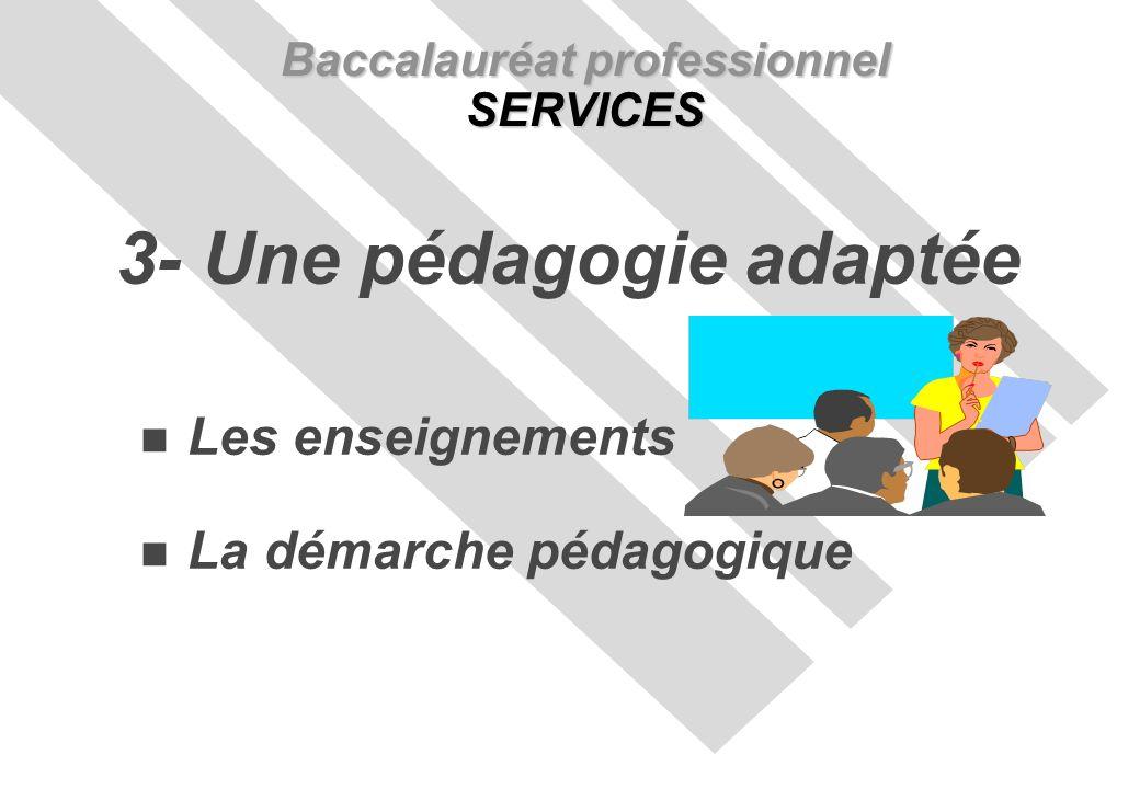 Les enseignements La démarche pédagogique Baccalauréat professionnel SERVICES 3- Une pédagogie adaptée
