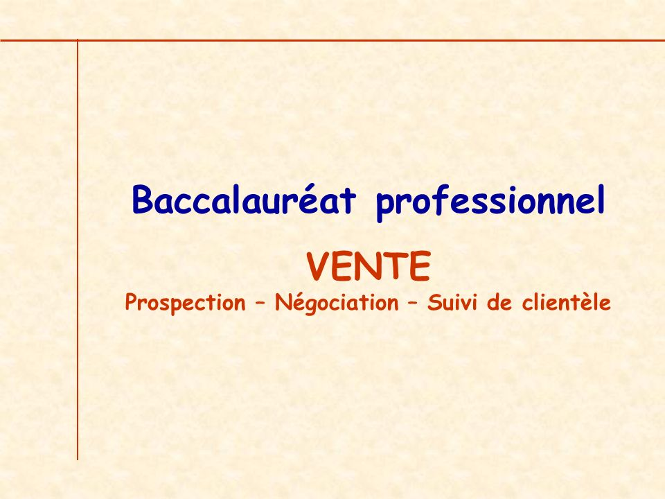 Baccalauréat professionnel VENTE Prospection – Négociation – Suivi de clientèle