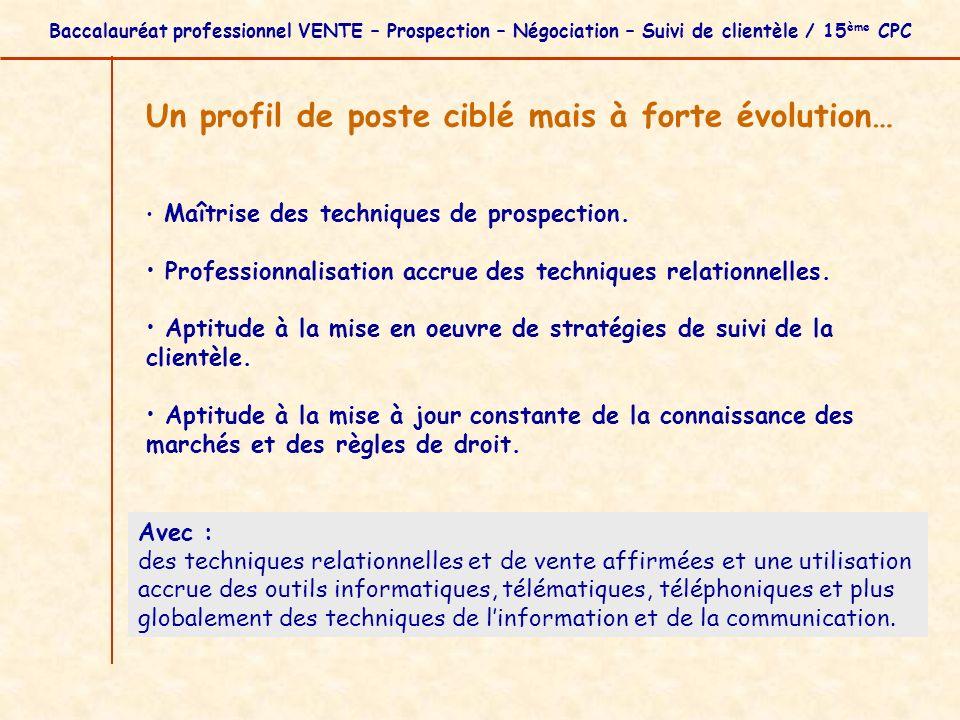 Baccalauréat professionnel VENTE – Prospection – Négociation – Suivi de clientèle / 15 ème CPC Un profil de poste ciblé mais à forte évolution… Maîtri