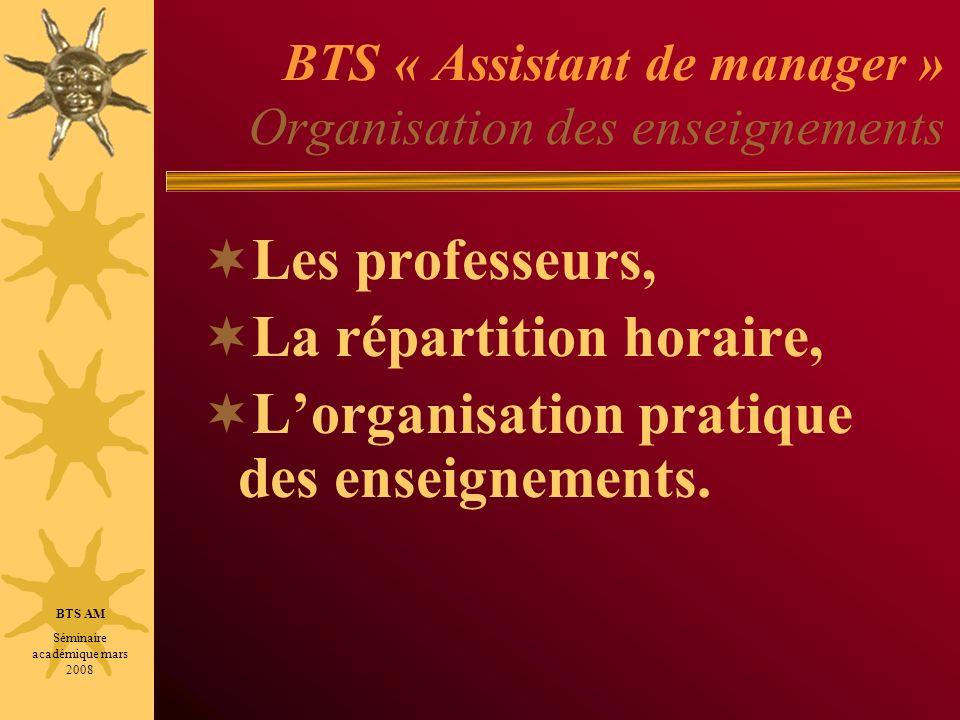 BTS « Assistant de manager » Organisation des enseignements Les professeurs, La répartition horaire, Lorganisation pratique des enseignements. BTS AM