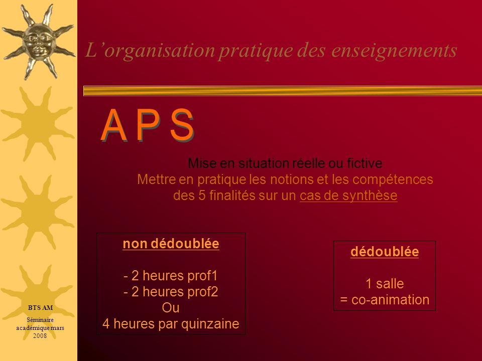 Lorganisation pratique des enseignements Cf: diaporama relatif aux ateliers-métier BTS AM Séminaire académique mars 2008