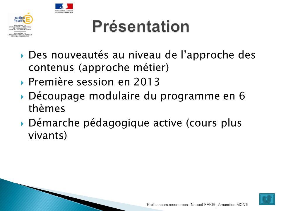 Des nouveautés au niveau de lapproche des contenus (approche métier) Première session en 2013 Découpage modulaire du programme en 6 thèmes Démarche pé