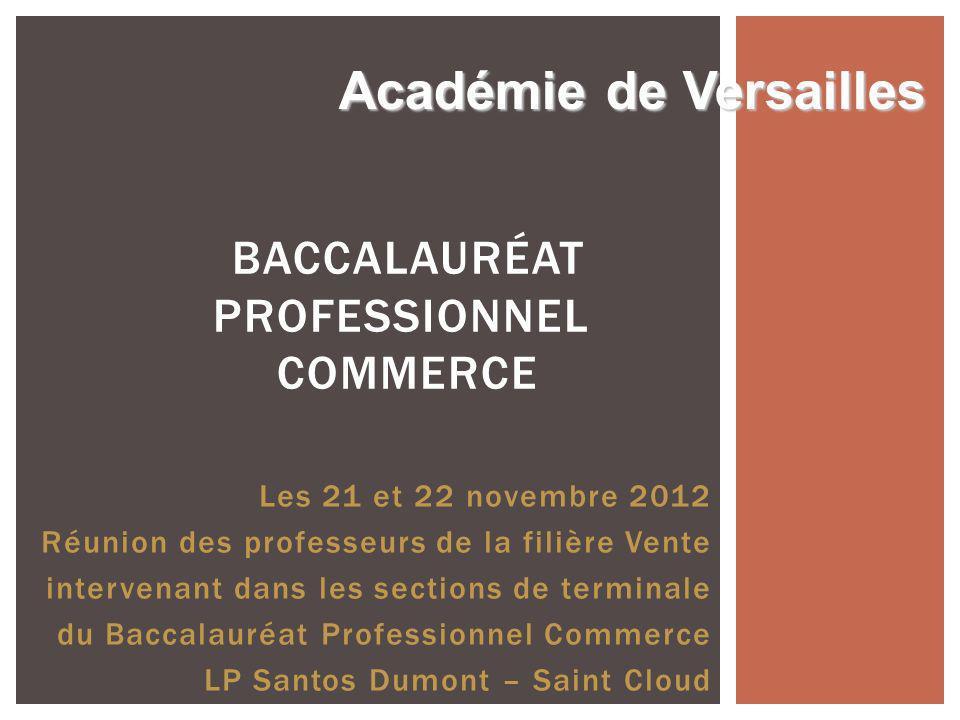 Les 21 et 22 novembre 2012 Réunion des professeurs de la filière Vente intervenant dans les sections de terminale du Baccalauréat Professionnel Commer