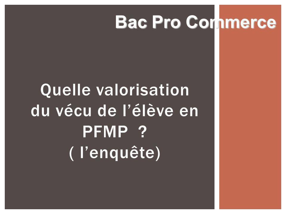Quelle valorisation du vécu de lélève en PFMP ? ( lenquête) Bac Pro Commerce
