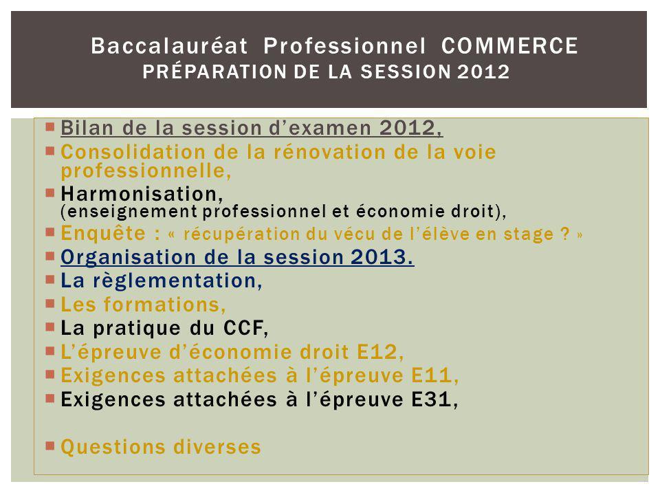Bilan de la session dexamen 2012, Consolidation de la rénovation de la voie professionnelle, Harmonisation, (enseignement professionnel et économie dr