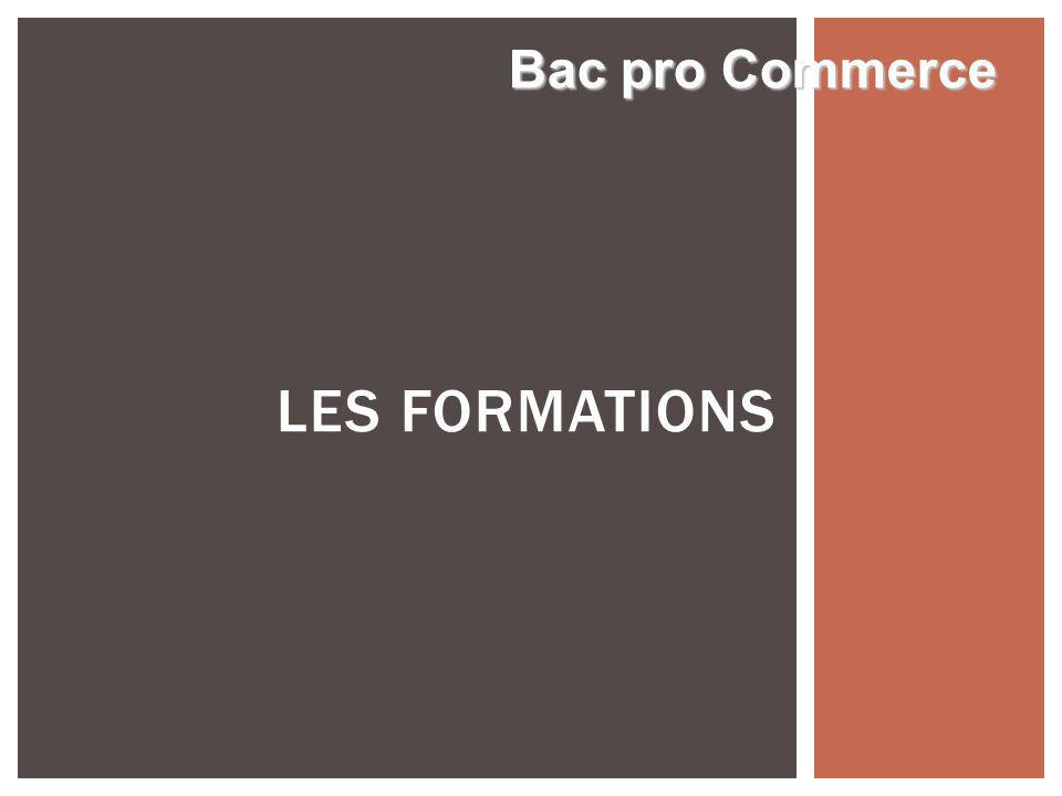 LES FORMATIONS Bac pro Commerce