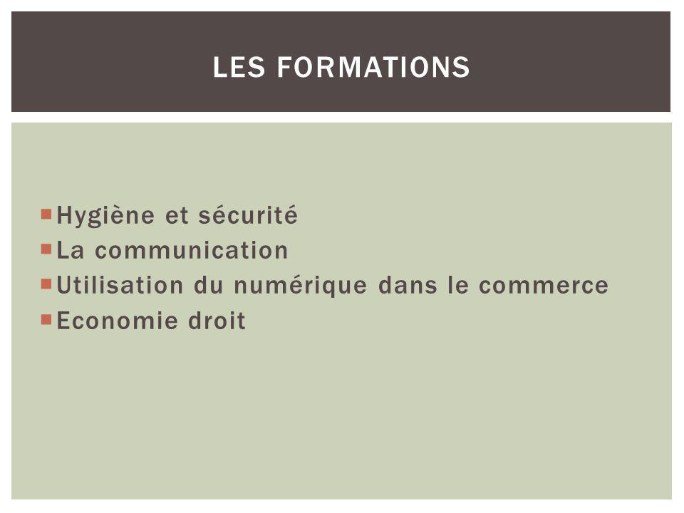 Hygiène et sécurité La communication Utilisation du numérique dans le commerce Economie droit LES FORMATIONS