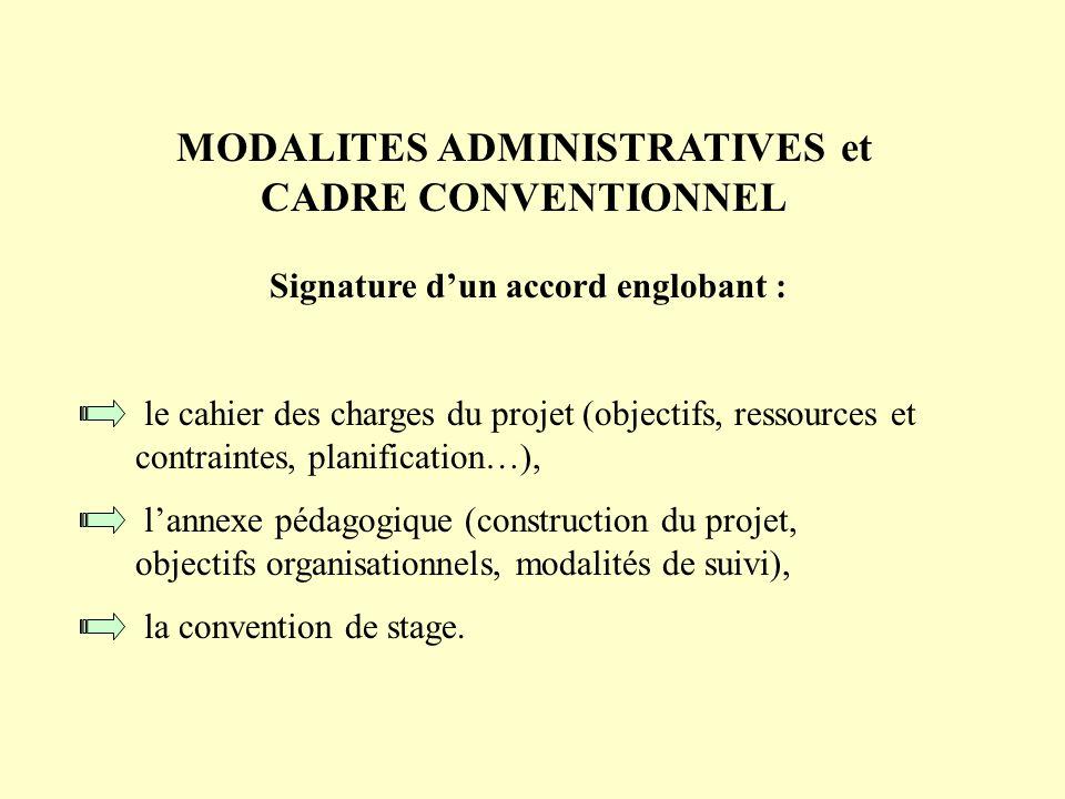 MODALITES ADMINISTRATIVES et CADRE CONVENTIONNEL Signature dun accord englobant : le cahier des charges du projet (objectifs, ressources et contrainte