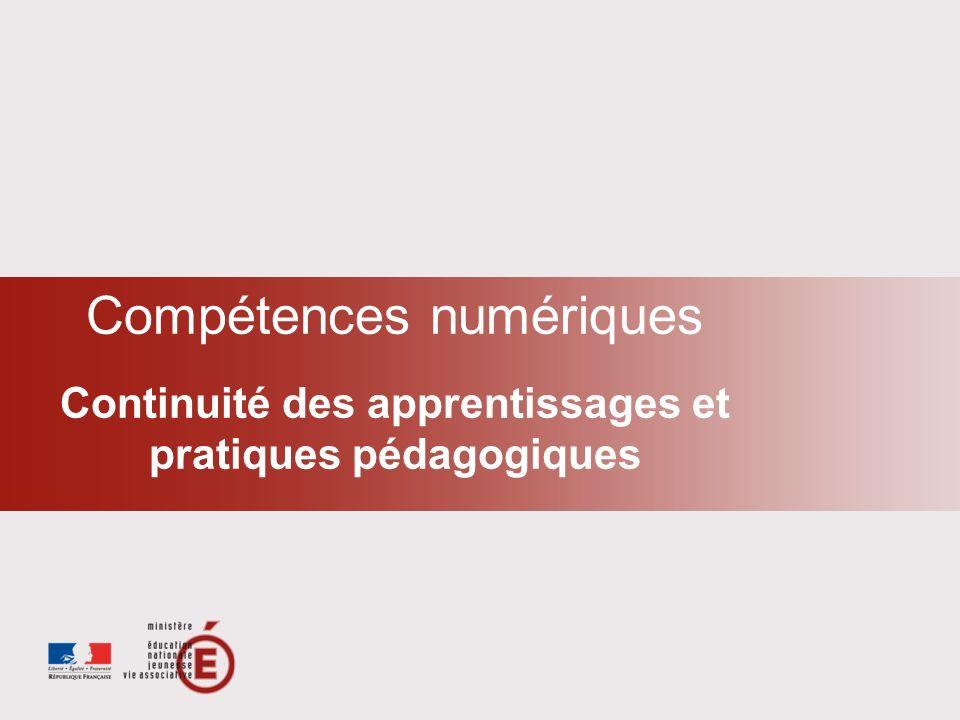 Compétences numériques Continuité des apprentissages et pratiques pédagogiques