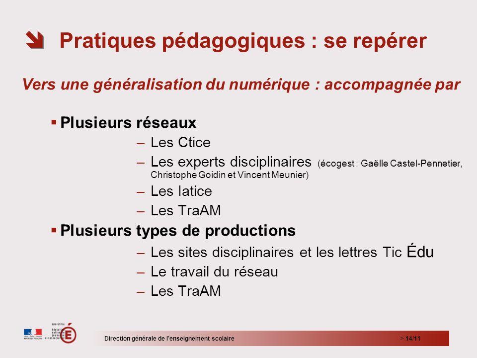 > 14/11 Vers une généralisation du numérique : accompagnée par Plusieurs réseaux –Les Ctice –Les experts disciplinaires (écogest : Gaëlle Castel-Penne
