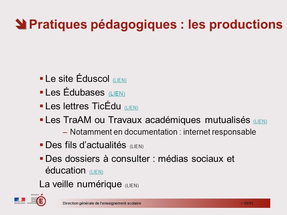 > 15/11 Le site Éduscol (LIEN) (LIEN) Les Édubases (LIEN) (LIEN) Les lettres TicÉdu (LIEN) (LIEN) Les TraAM ou Travaux académiques mutualisés (LIEN) (