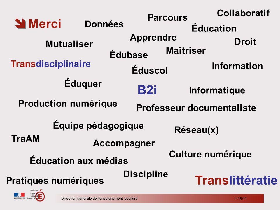 > 16/11 Merci Direction générale de lenseignement scolaire Éduscol Édubase Translittératie Transdisciplinaire Éducation Culture numérique Information