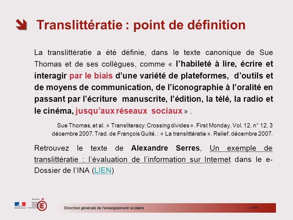 > 7/11 La translittératie a été définie, dans le texte canonique de Sue Thomas et de ses collègues, comme « lhabileté à lire, écrire et interagir par