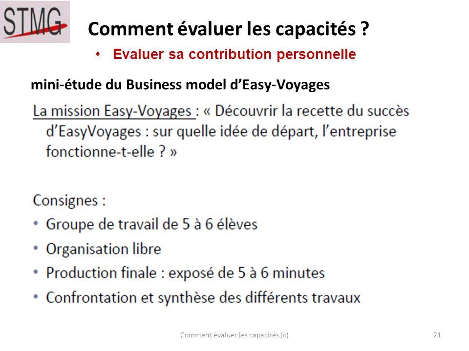 Comment évaluer les capacités ? 21Comment évaluer les capacités (c) Evaluer sa contribution personnelle mini-étude du Business model dEasy-Voyages
