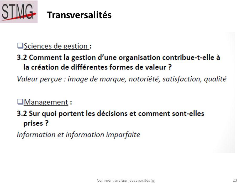 Transversalités 23Comment évaluer les capacités (g)