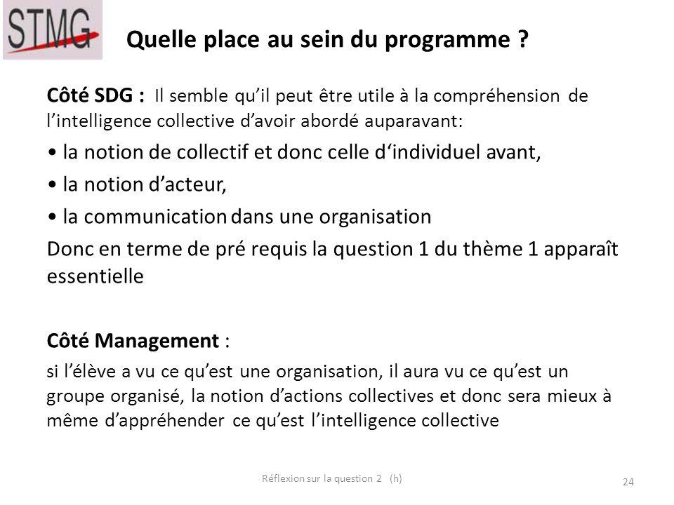 Quelle place au sein du programme ? 24 Réflexion sur la question 2 (h) _____ _____ __ ____ __ _________ Côté SDG : Il semble quil peut être utile à la