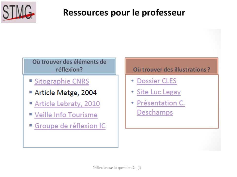 Ressources pour le professeur Réflexion sur la question 2 (i)