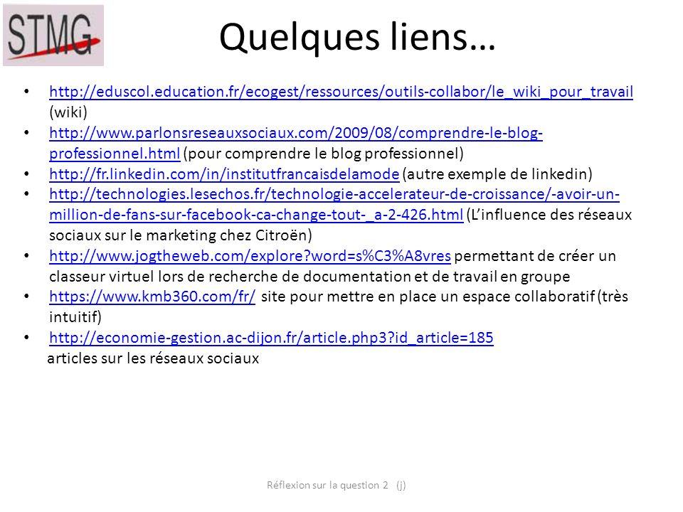Quelques liens… http://eduscol.education.fr/ecogest/ressources/outils-collabor/le_wiki_pour_travail (wiki) http://eduscol.education.fr/ecogest/ressour