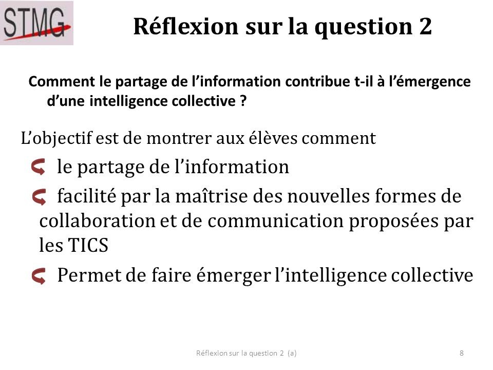 Réflexion sur la question 2 Comment le partage de linformation contribue t-il à lémergence dune intelligence collective .