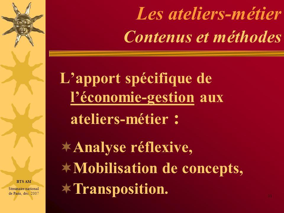Les ateliers-métier Contenus et méthodes Lapport spécifique de léconomie-gestion aux ateliers-métier : 11 BTS AM Séminaire national de Paris, déc. 200