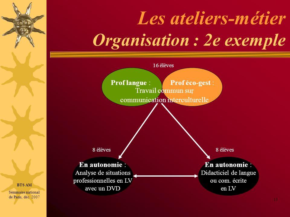 Les ateliers-métier Organisation : 2e exemple 13 Prof langue :Prof éco-gest :. En autonomie : Didacticiel de langue ou com. écrite en LV En autonomie