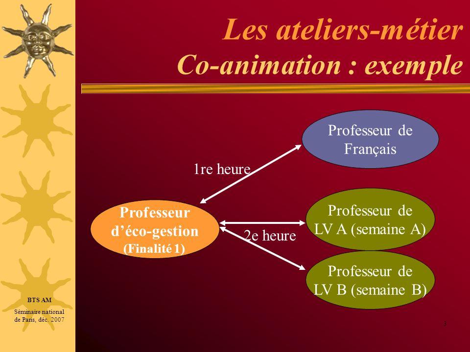 Les ateliers-métier Co-animation : exemple 3 Professeur de Français Professeur déco-gestion (Finalité 1) Professeur de LV A (semaine A) Professeur de