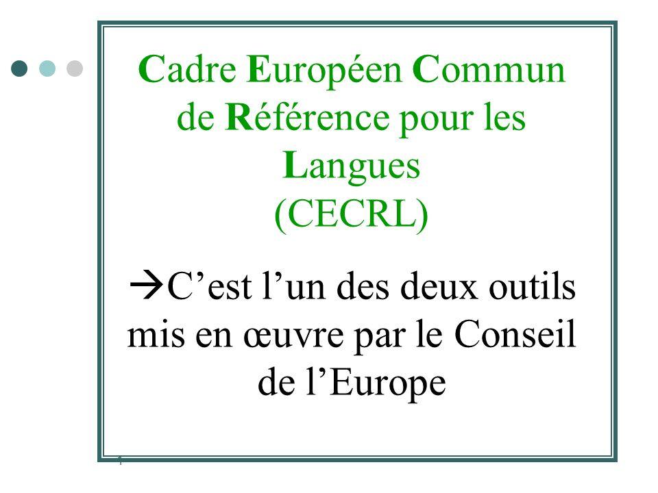 1 Cadre Européen Commun de Référence pour les Langues (CECRL) Cest lun des deux outils mis en œuvre par le Conseil de lEurope