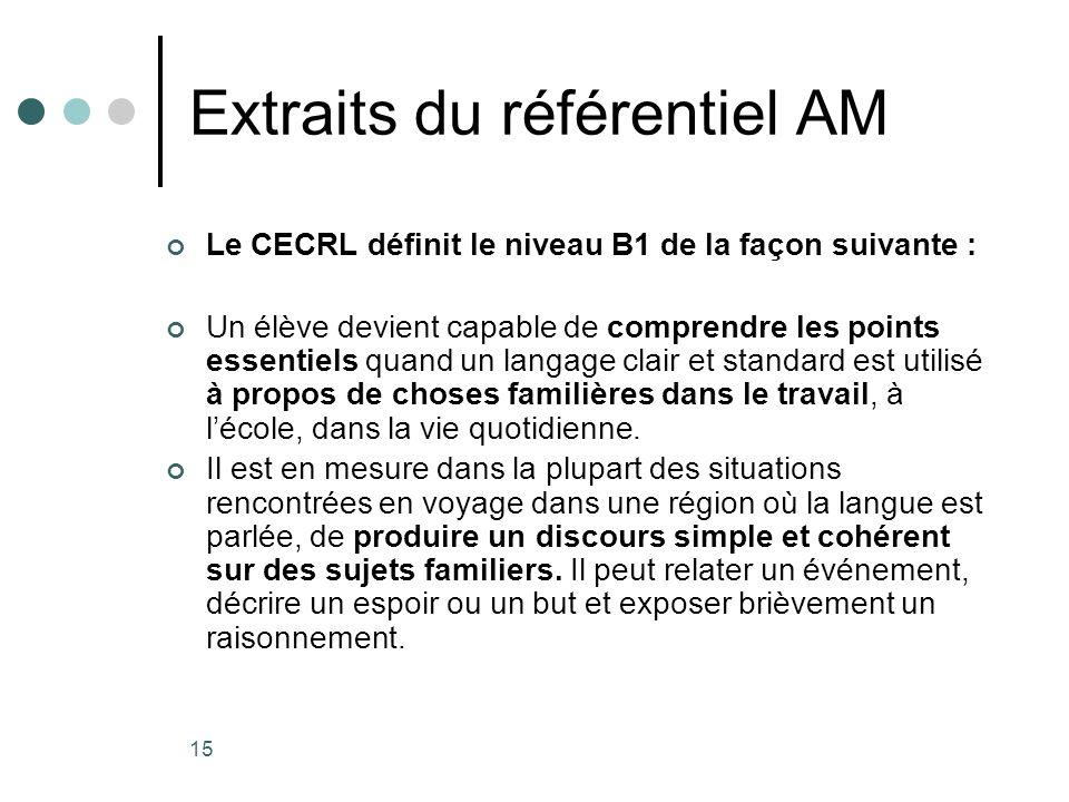 15 Extraits du référentiel AM Le CECRL définit le niveau B1 de la façon suivante : Un élève devient capable de comprendre les points essentiels quand